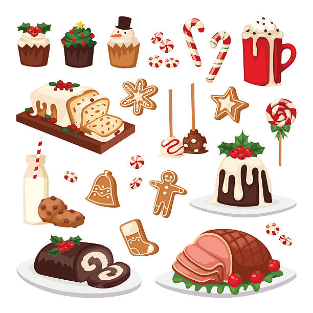 illustrazioni stock, clip art, cartoni animati e icone di tendenza di christmas food vector set. - christmas cooking