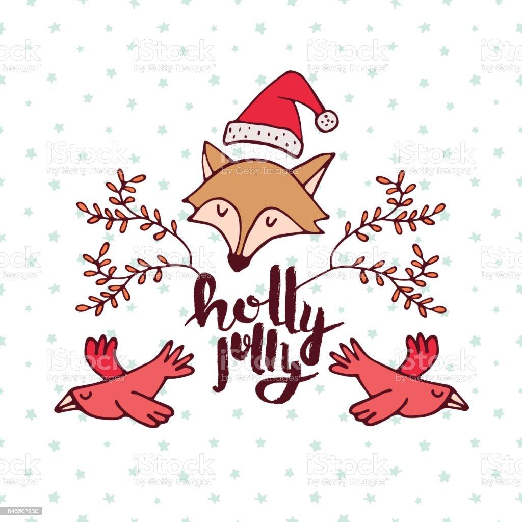 Christmas forest fox cartoon holiday greeting card vector art illustration