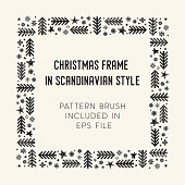 Hand drawn brush with corner tiles in Scandinavian style. Square holiday frame. Seamless design for Christmas frames, borders, dividers, greeting cards. Brush included in eps. Vector illustration.