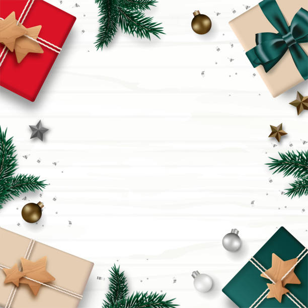 ilustrações de stock, clip art, desenhos animados e ícones de christmas frame border composition. gift box, pine tree, christmas balls, star, and confetti isolated on white wooden background. top view. vector illustration. - top view, wood table, empty