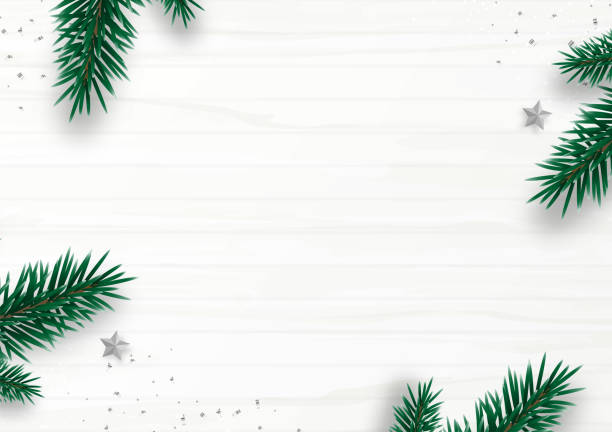 illustrazioni stock, clip art, cartoni animati e icone di tendenza di christmas frame decor with fir tree branch, stars, confetti, isolated on white wooden background. flat lay. top view. copy space. winter holiday. minimal style. vector illustration. - christmas table
