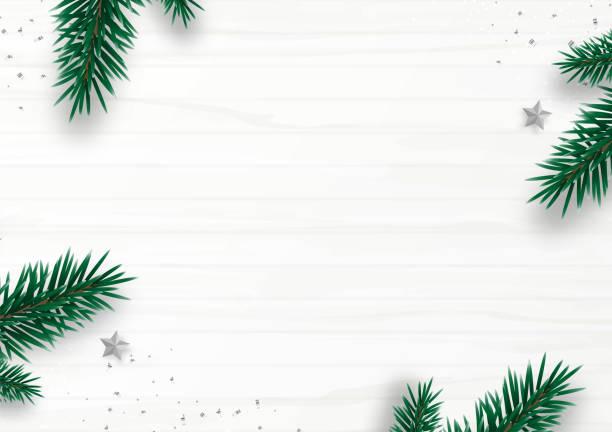 illustrazioni stock, clip art, cartoni animati e icone di tendenza di christmas frame decor with fir tree branch, stars, confetti, isolated on white wooden background. flat lay. top view. copy space. winter holiday. minimal style. vector illustration. - tavola natale