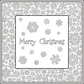 Christmas frame from snowflakes for a card vector