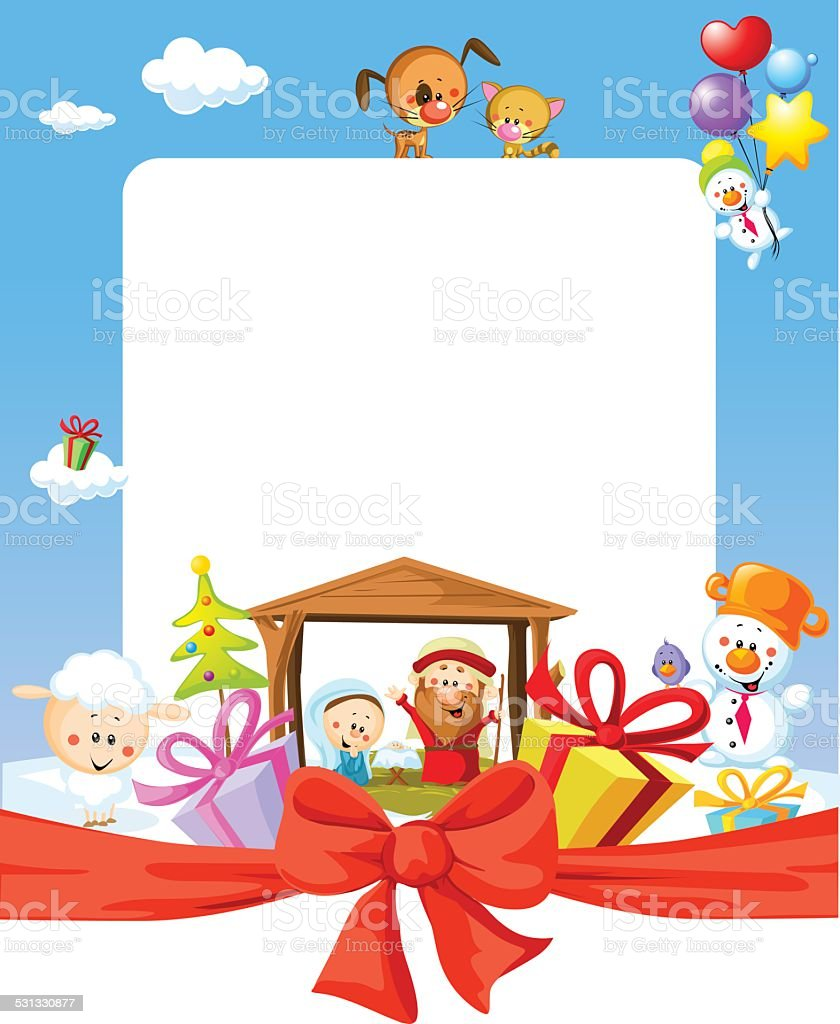 Stoffen Design Bank.Christmas Frame Nativity With Jesus Stock Illustration Download