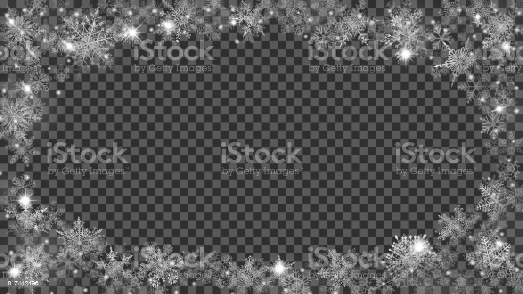 Christmas frame of translucent snowflakes in the shape of ellipse vector art illustration