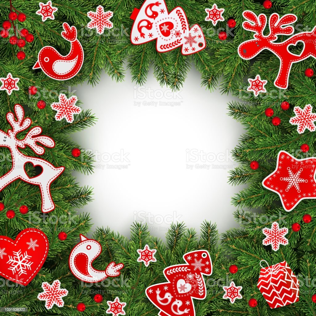 Christmas Frame Realistic Spruce Branches Holly Berries Scandinavian ...