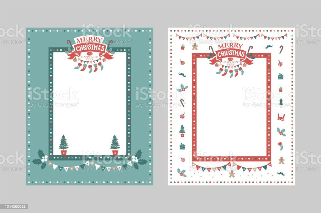 Christmas Frame Template For Congratulations Postcards Lettering