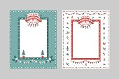 Christmas frame template for congratulations, postcards. Lettering composition Merry Christmas and Happy New year on a red ribbon with Christmas tree, stockings, garland.  Vector illustration