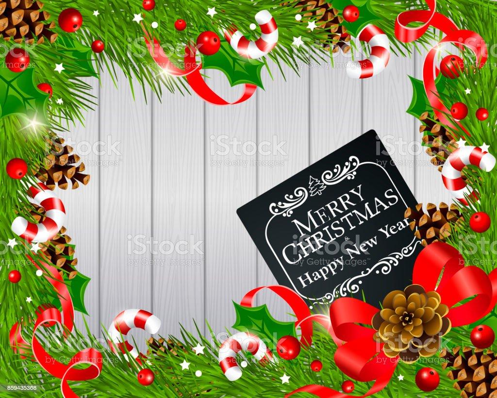 Ilustración de Christmas Marco De y más banco de imágenes de Abeto ...