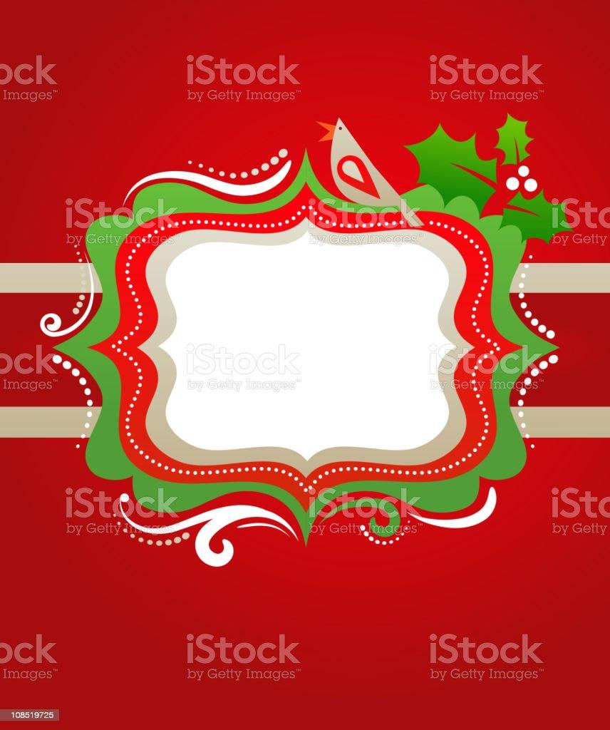 Christmas frame with a bird vector art illustration