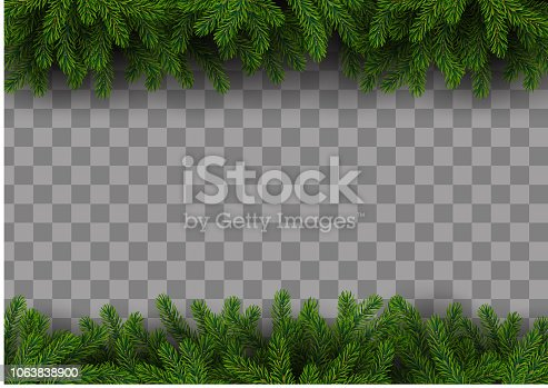 istock Christmas frame with fir tree 1063838900