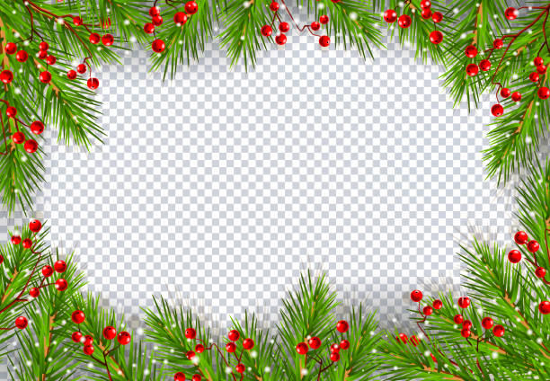 Weihnachtsrahmen mit Tannenbaum – Vektorgrafik