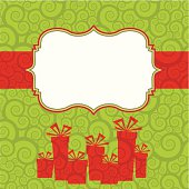 Retro Christmas frame with ribbon and gifts. Swirl seamless background. Global colors used, easy to change.
