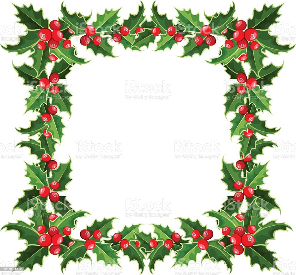 Cornici Foto Di Natale.Cornice Di Natale Con Holly Illustrazione Vettoriale
