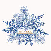 Greeting card with pine branches, holly berries and leaves, fern. Botanical illustration. Christmas bouquet. Engraving. Blue.