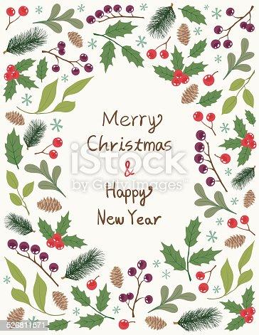 istock Christmas Frame With Plants 526811571