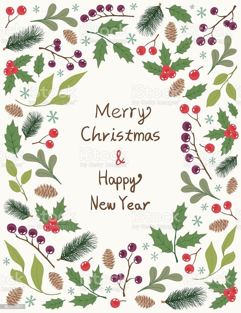 Christmas Frame With Plants vector art illustration