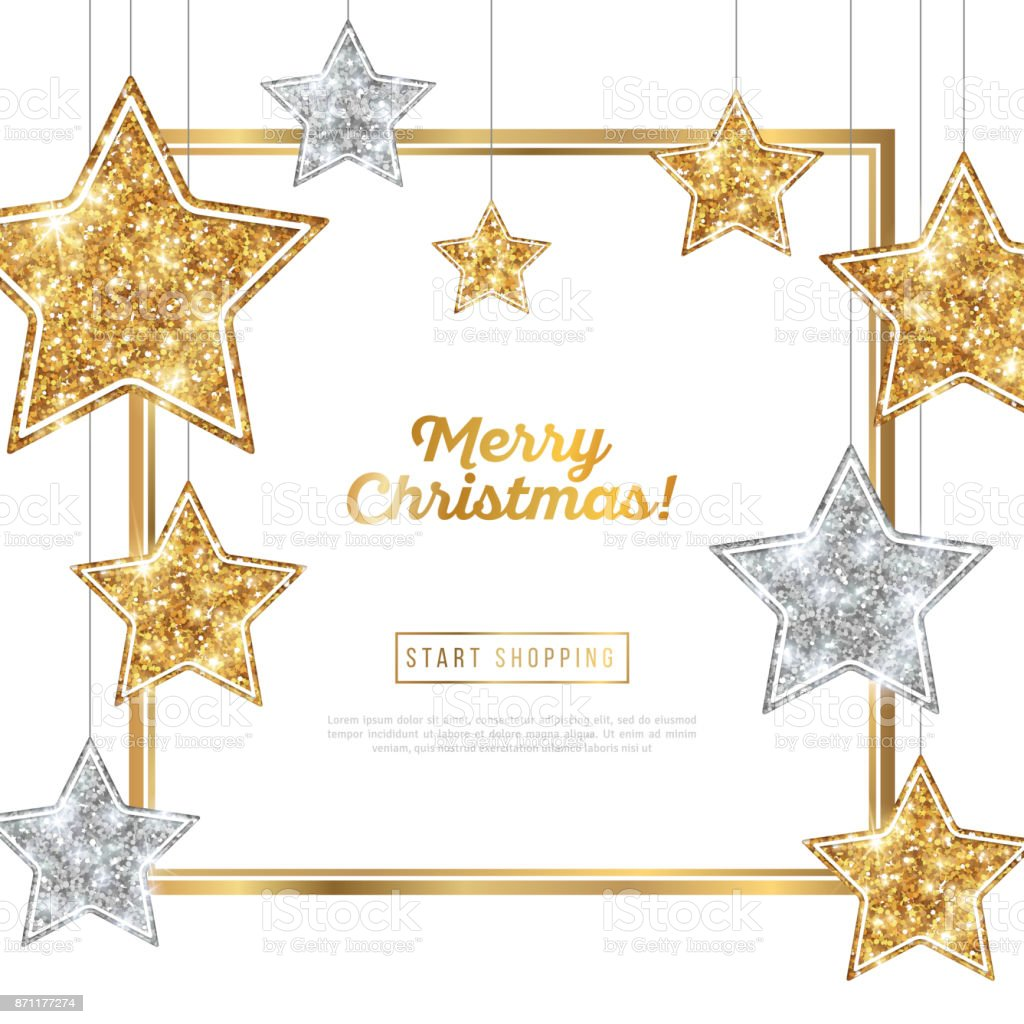 Christmas Frame with Silver and Gold Stars vector art illustration
