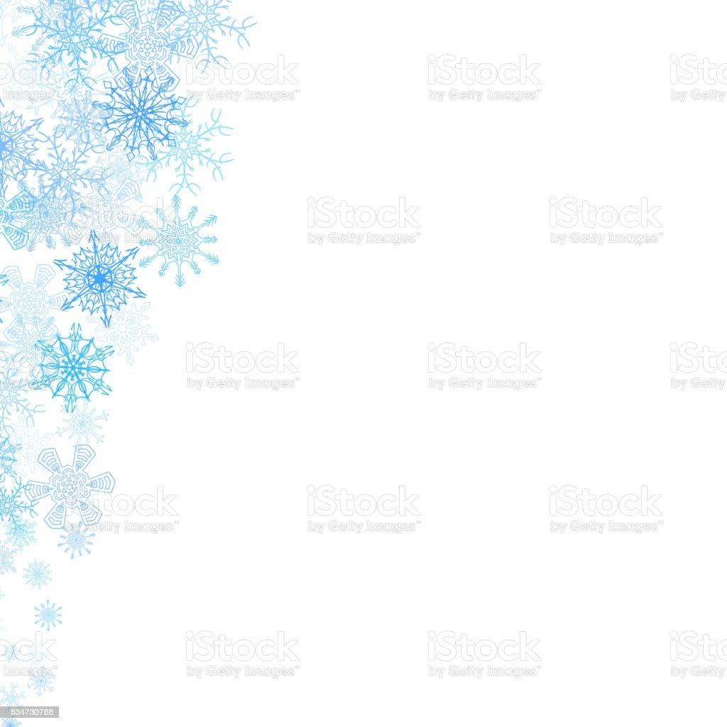Ilustración de Marco De Navidad Con Pequeños Copos De Nieve Azul y ...