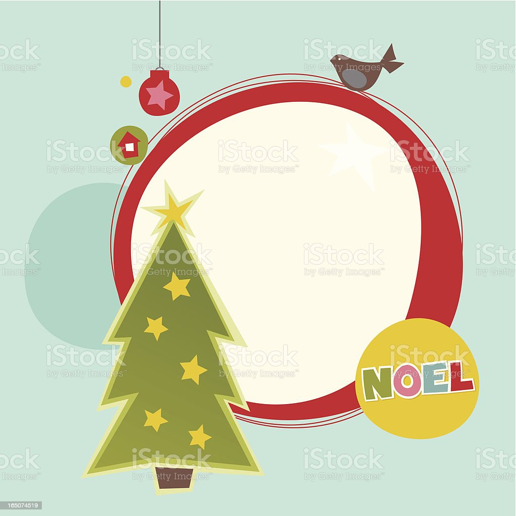 Christmas frame with tree,bird and baubles vector art illustration