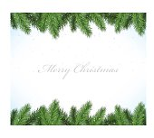 Vector Christmas framework with fir tree branches and snow isolated on white