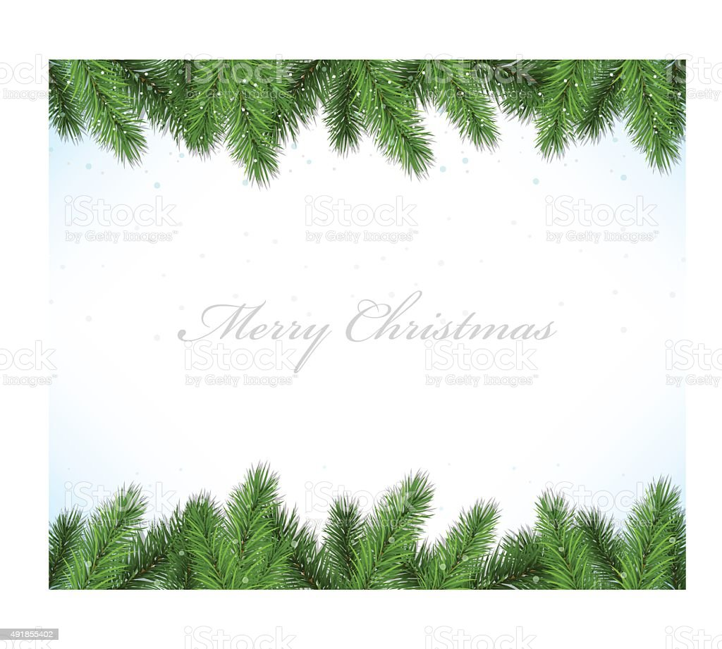Christmas framework with fir tree vector art illustration