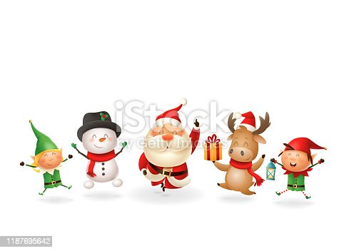 istock Christmas Friends Elves Santa Snowman and Reindeer celebrate holidays - jumping singing dancing - vector illustration isolated on transparent background 1187695642