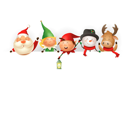Christmas friends on board - template with Santa, Elves girl and boy, Snowman and Reindeer - vector illustration