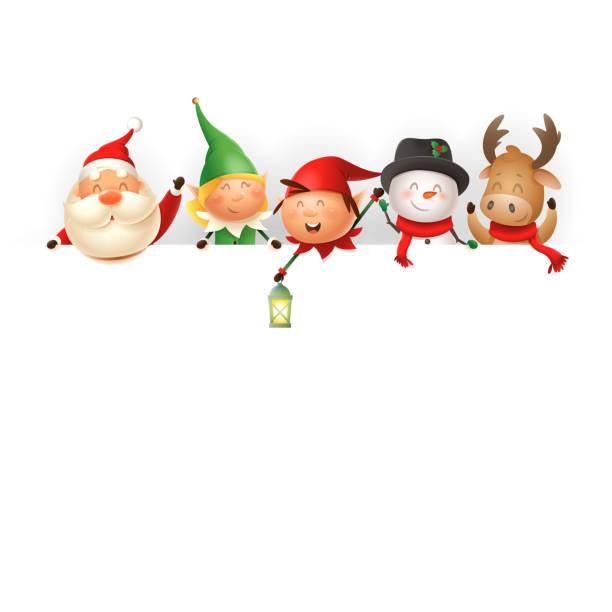 보드에 크리스마스 친구 - 산타, 엘프 소녀와 소년, 눈사람과 순록 템플릿 - 벡터 일러스트 레이션 - 가공의 인물 stock illustrations