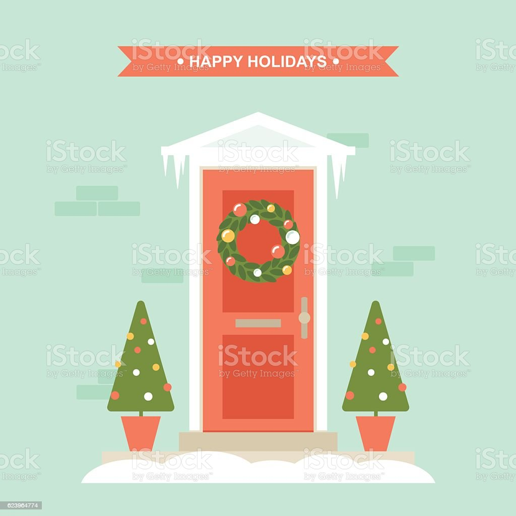 christmas front door decorations house exterior entrance royalty free christmas front door decorations house exterior - Front Door Entrance Christmas Decoration