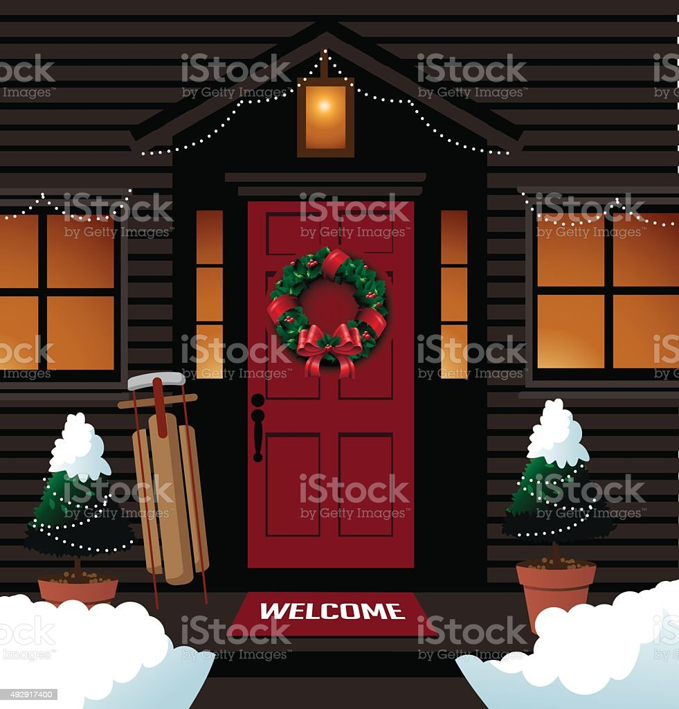 Christmas front door with sleigh wreath and boots. EPS 10 vector...