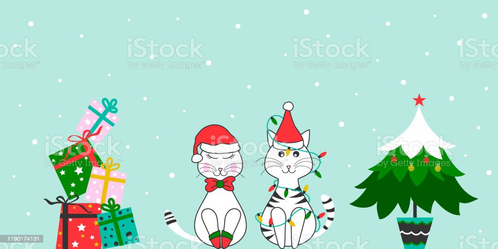 christmas funny cats with gift and tree merry christmas and happy new year cute card design holiday background banner stock illustration download image now istock https www istockphoto com vector christmas funny cats with gift and tree merry christmas and happy new year cute gm1190174131 337281331