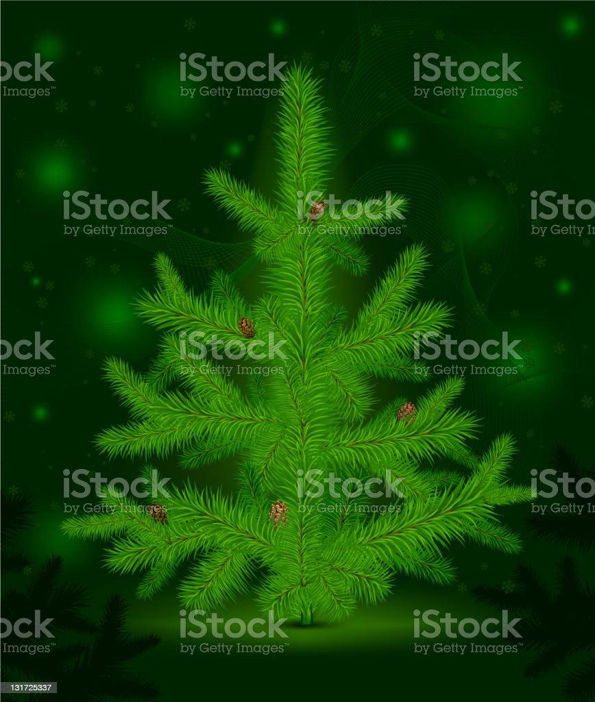 Christmas fur-tree on green royalty-free stock vector art