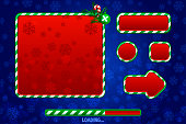 Christmas Game UI Utilities For UI Graphic Assets. Buttons, boards and frame. Game loading. Objects on a separate layer.