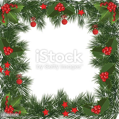 Christmas Garland Border Stock Vector Art & More Images of ...