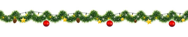 Christmas garland of mistletoe tinsel with festive light and decorations of golden stars and pine cones Christmas garland of mistletoe tinsel with festive light and decorations of golden stars and pine cones christmas decoration stock illustrations