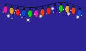 istock Christmas garland on a blue background. Vector illustration. 1285972322