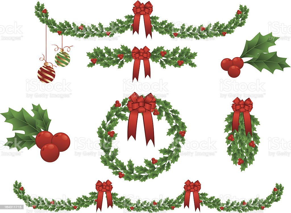 christmas garland vector christmas garland stock vector art more images of berry 4785