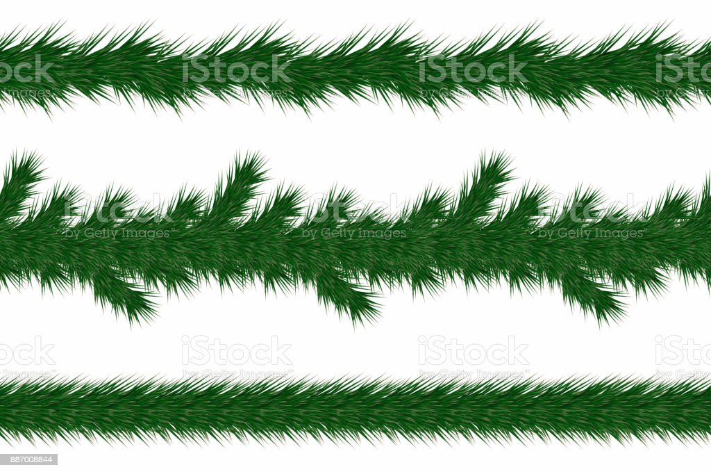 Christmas Garland With Fir Branches Set Of Green Christmas Tree Branches Borders Isolated On White Background Stock Illustration Download Image Now