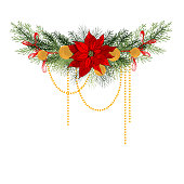 Christmas garland with with Poinsettias. Vector hand-drawn illustration.