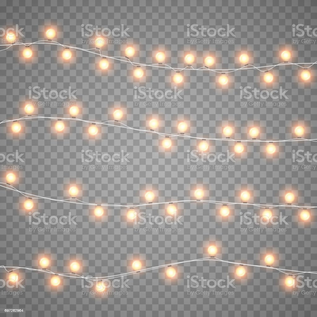 Christmas garlands isolation on transparent background. Xmas realistic overlay lights card. Holidays decorations bright lamps. Vector gloving garland illustration. vector art illustration