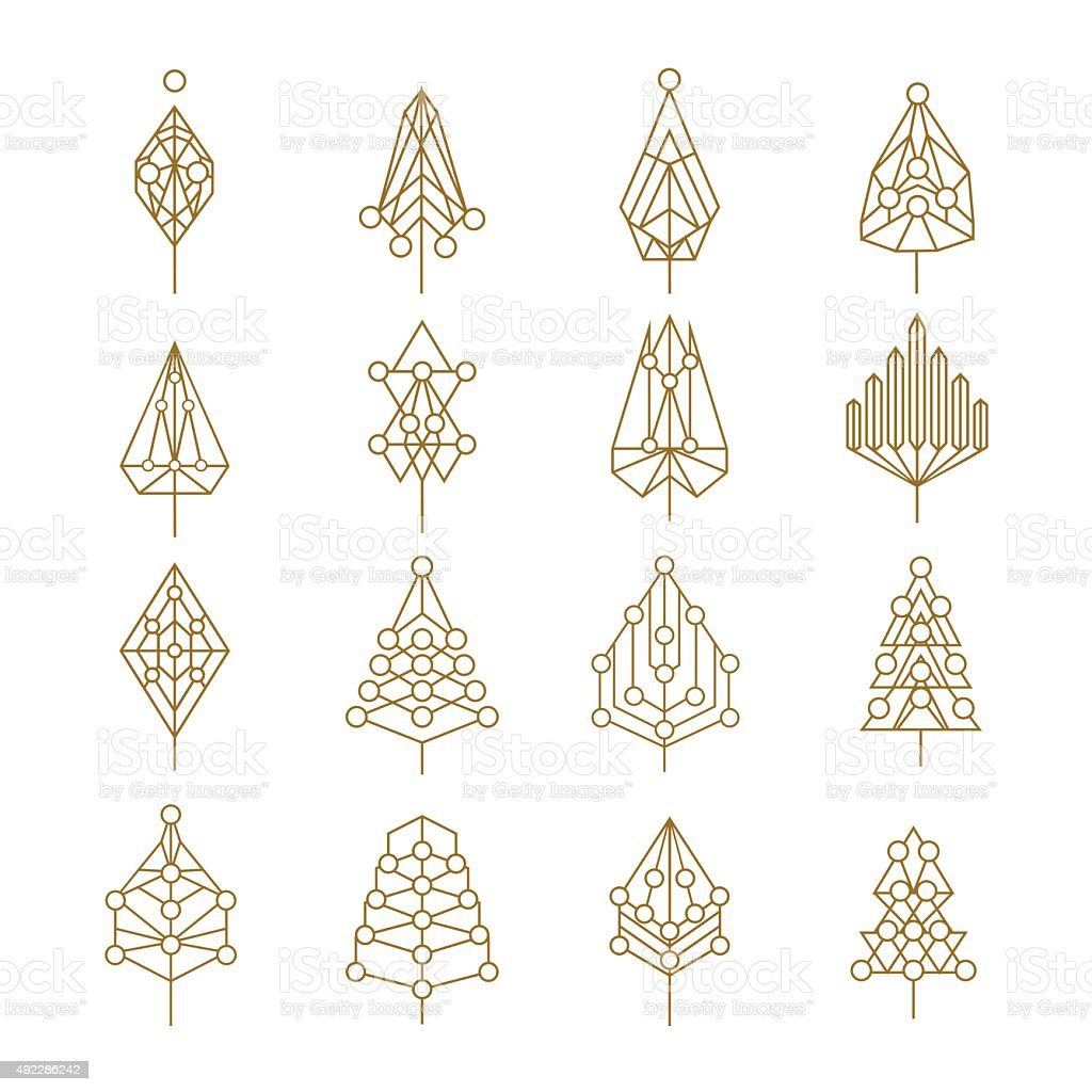 Christmas geometry abstract outline pine tree set vector art illustration