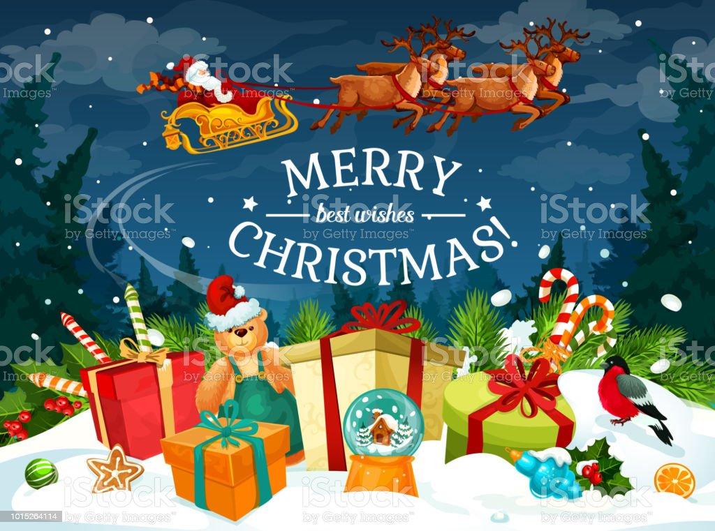 Christmas gift and santa sleigh greeting card stock vector art christmas gift and santa sleigh greeting card royalty free christmas gift and santa sleigh greeting m4hsunfo