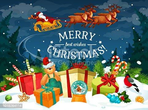 istock Christmas gift and Santa sleigh greeting card 1015264114