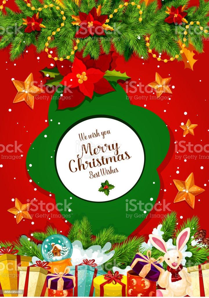 Weihnachtsbaum Girlande.Weihnachtsgeschenk Und Weihnachtsbaum Girlande Grußkarte Stock