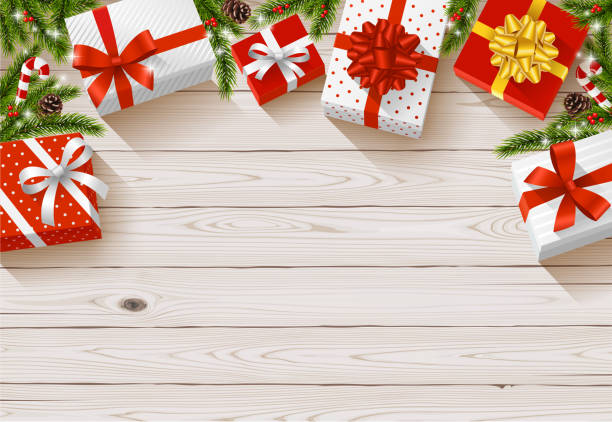 illustrazioni stock, clip art, cartoni animati e icone di tendenza di christmas gift backgrounds - tavolo legno