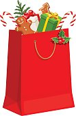 Christmas gift bag. Vector illustration.