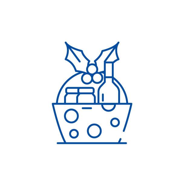 stockillustraties, clipart, cartoons en iconen met kerstcadeau mand lijn icoon concept. kerstcadeau mand platte vector symbool, teken, outline illustratie. - mand