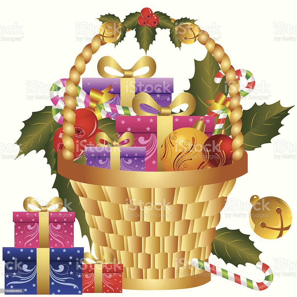 Christmas gift basket stock vector art more images of backgrounds christmas gift basket royalty free christmas gift basket stock vector art amp more negle Gallery