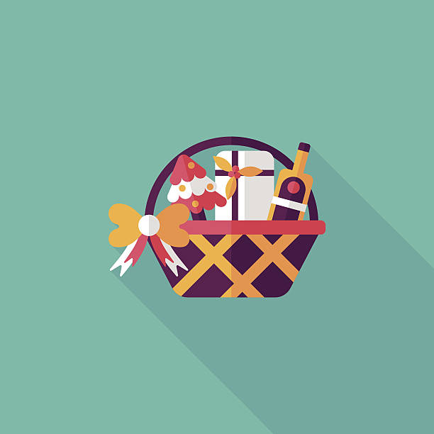 Christmas gift baskets flat icon with long shadow, eps10 vector art illustration